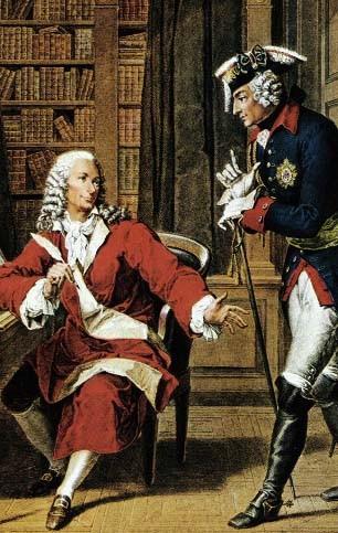 Frédéric II et Voltaire, reproduction en couleurs d'une estampe du XIXe s., Paris, BnF