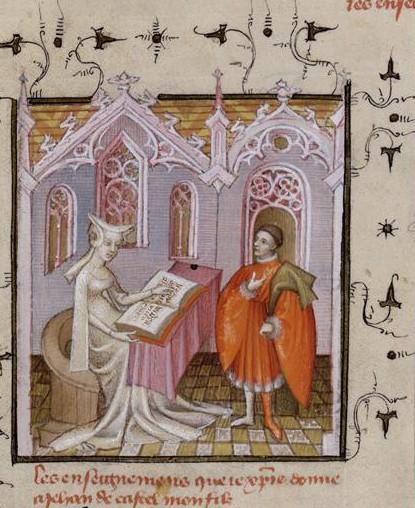 Maître de l'Epître d'Othéa, Début des Enseignements moraux : Christine de Pisan et son fils Jean de Castel, XVe s., Paris, BnF