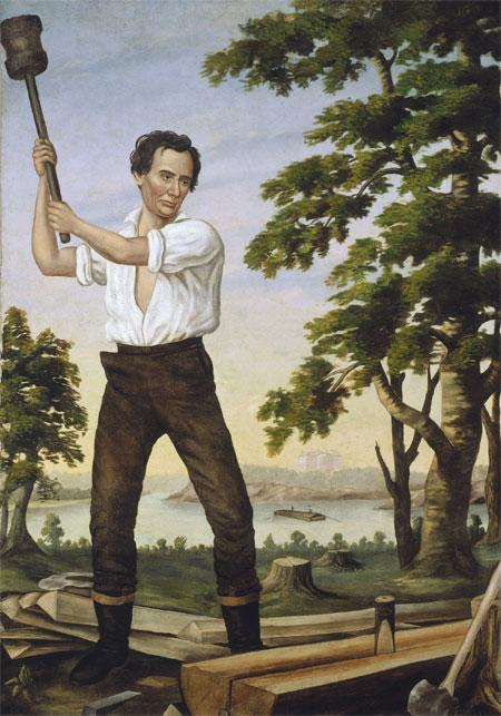 Le jeune Abraham Lincoln fendeur de traverses (the railsplitter, peinture de 1860, Chicago History Museum)