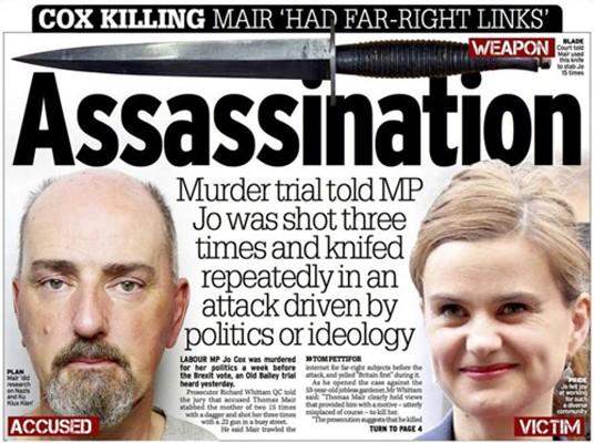 La Une du Daily Record après l'assassinat de Jo Cox : Jo a tiré trois fois et poignardé à plusieurs reprises sa victime.