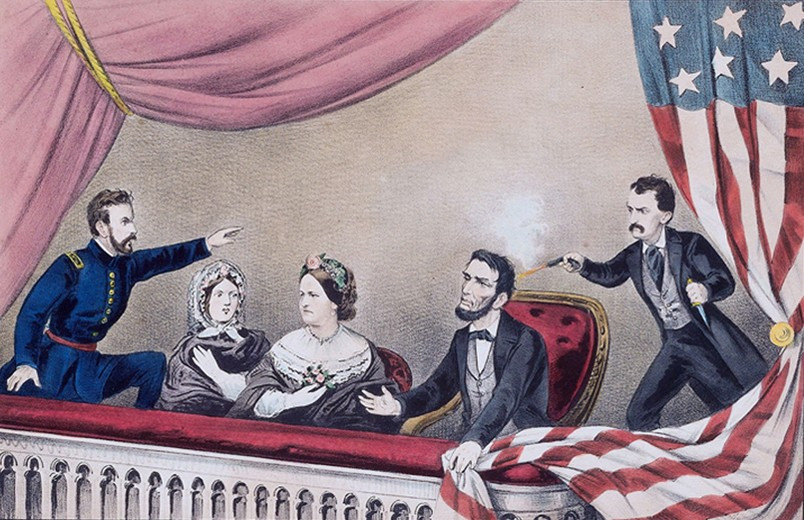 Assassinat de Lincoln, lithographie, Currier & Ives, 1865, bibliothèque du congrès, Washington. De gauche à droite : le major Rathbone, Clara Harris, Mary Todd Lincoln, Abraham Lincoln et John Wilkes Booth.