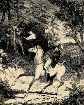 Assassinat de William Horsfall, gravure de Phiz (The Chronicles of crime, 1887)