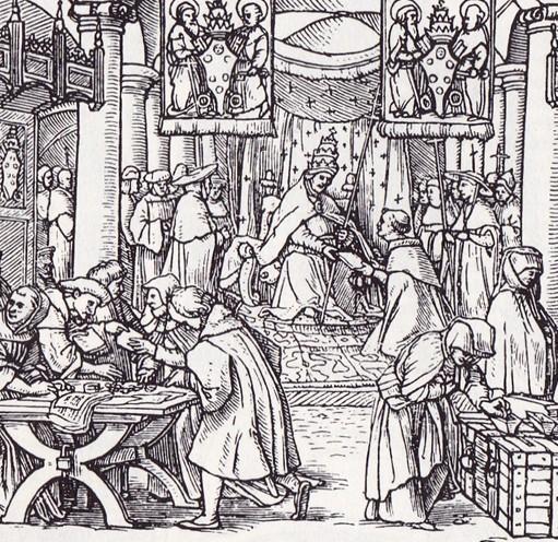 La vente des indulgences au début du XVIe siècle, gravure, Hans Holbein le jeune.