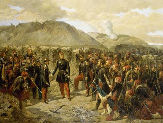 Le général Mac-Mahon avec le 1er Zouaves avant l'attaque de Malakoff (Alphonse Aillaud, 1855, Musée de l'Armée, Paris)