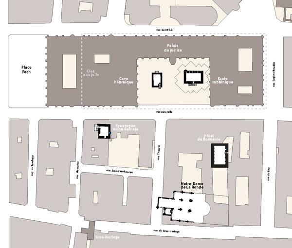 Les principaux édifices du quartier juif médiéval de Rouen - au sud de la rue aux juifs, la synagogue et l'hôtel de Bonnevie - au nord un édifice non encore fouillé et la Maison Sublime