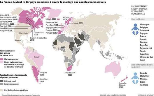 le mariage des personnes de m me sexe et l 39 homosexualit dans le monde source le monde. Black Bedroom Furniture Sets. Home Design Ideas