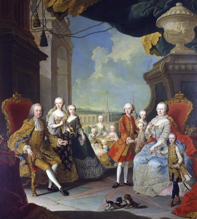 François de Lorraine et Marie-Thérèse de Habsbourg avec leur nombreuse progéniture (Martin Van Meylens le Jeune, 1755, musée de Versailles)