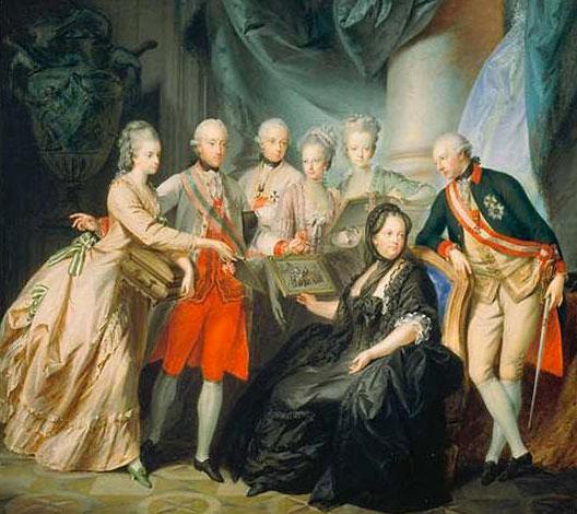 La famille impériale avec, autour de Marie-Thérèse, Marie-Christine et son mari Albert de Saxe, Maximilien, Marie-Anne, Marie-Elisabeth et Joseph II (Heinrich Füger, 1776)