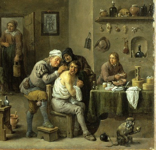 David Teniers le Jeune, Le Chirugien-barbier, milieu du XVIIe s., Norfolk, The Chrysler Museum of Art