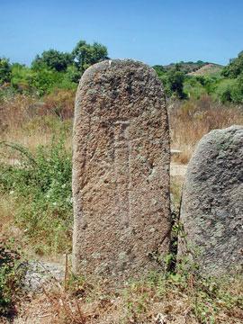 Menhir sculpté à Palaghju (Corse du sud)