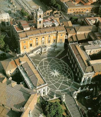 La place du Capitole, à Rome, réaménagée par Michel-Ange en 1538