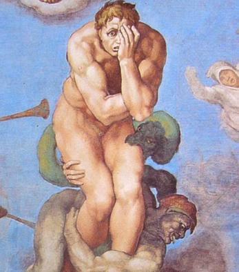 Le Jugement dernier, détail (1538-1541, Michel-Ange, chapelle Sixtine, Vatican)