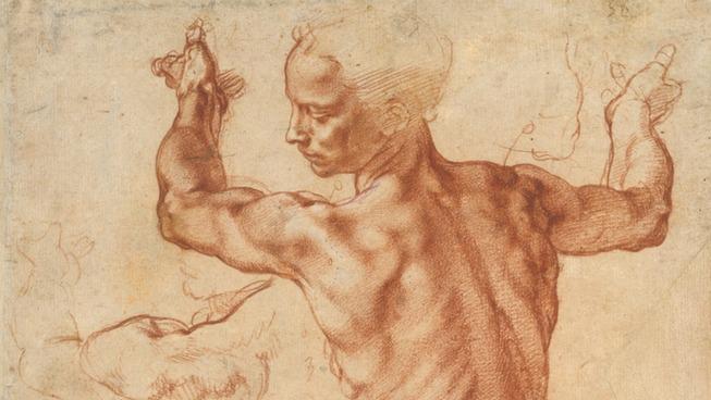 Études pour la Sibylle Libyenne, sanguine, détail (1510-1511, Michel Ange,  Metropolitan Museum of Art of New York)