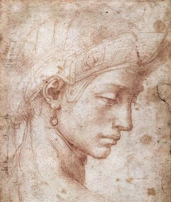 Visage idéal (1512-1530, Michel-Ange, sanguine, Galerie des Offices, Florence)