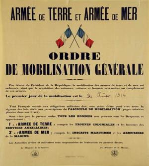 Mobilisation générale le 2 août 1914