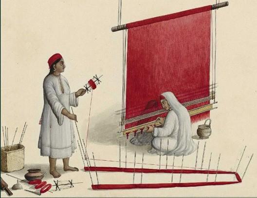 Tisseuses dans l'atelier, album Suite des douze métiers de l'Inde, vers 1837, Paris, BnF