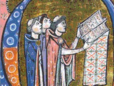 Moines chantant (miniature médiévale)
