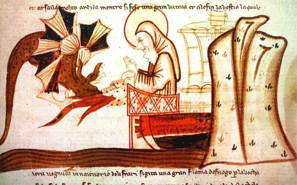 Saint Colomba sauve un compagnon attaqué par un monstre marin dans le golfe du Loch Ness (miniature médiévale)