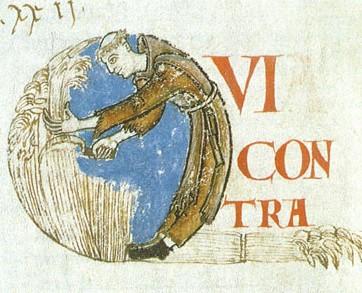 Le moine moissonneur, initiale historiée, Moralia in Job (Cîteaux, XIIe siècle, miniature, bibliothèque municipale de Dijon)