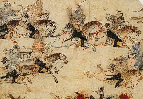 Combattants mongols en Chine