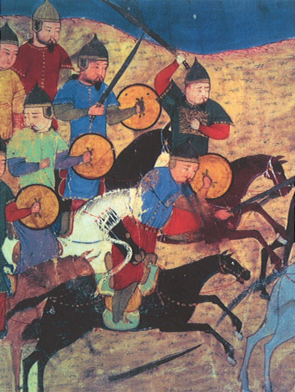 Cavaliers mongols, miniature persane du XIIIe siècle (BNF)