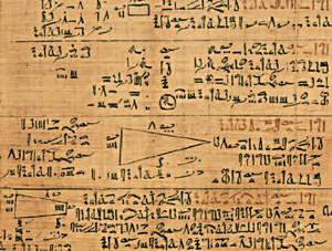 Papyrus du scribe Ahmès, vers 1650 av. J.-C., découvert par alexander Rhind,  Londres, British Museum