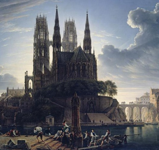 August Ahlborn, Cathédrale gothique au bord de l'eau, 1823, Nationalgalerie, Berlin