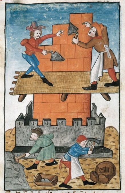 Construction de la tour de Babel, Speculum humanae salvationis, 1470, Bibliothèque municipale de Marseille