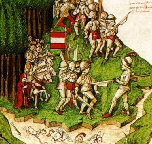 Bataille de Morgarten, chronique de Tschachtlan, XVe siècle (Bibliothèque centrale de Zurich)