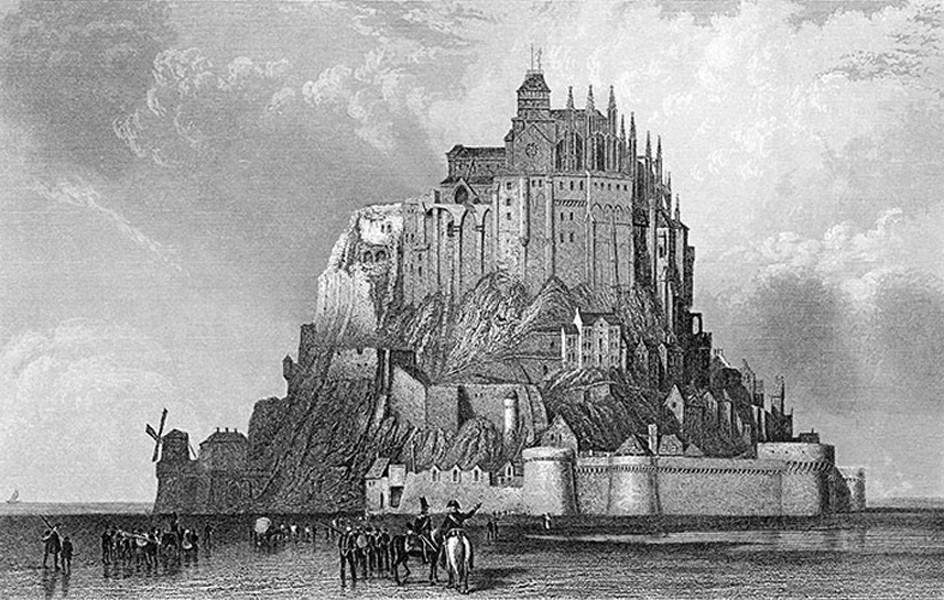 Le Mont-Saint-Michel et ses prisonniers, gravure anonyme extraite de l'ouvrage « L'Univers - collection des vues les plus pittoresques du globe » de Jules Janin, éd. 1840.