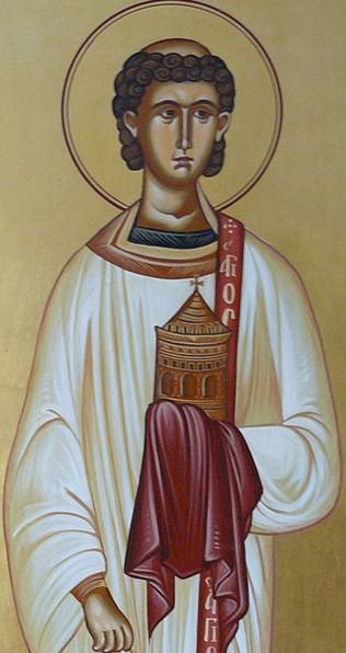 Icône de Saint Étienne dans l'église Saint-Étienne à Monastiraki, dans la région de Lasithi, Crète. L'encensoir dans la main droite symbolise le diaconat et sa main gauche est recouverte d'un drap rouge symbolisant le martyr.