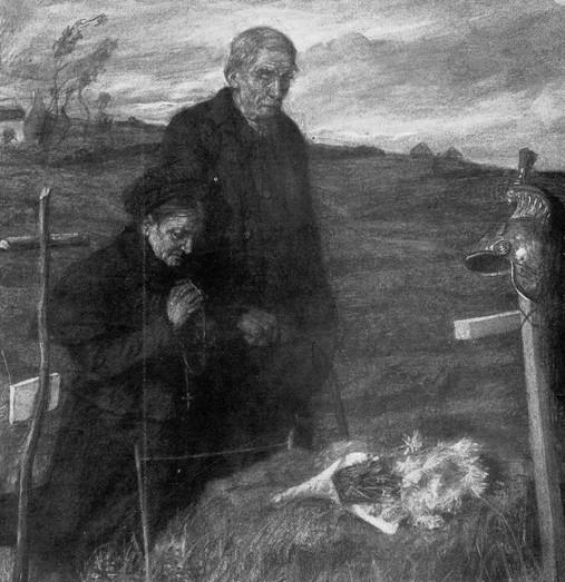 Le jour des morts, 7 novembre 1914, dessin de Lucien Jonas (1880 - 1947), artiste peintre mobilisé fin décembre 1914 au 127e régiment d'infanterie.