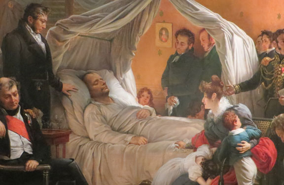 Napoléon sur son lit de mort ; de gauche à droite : Napoléon Bertrand et son père le gal Bertrand, le dr Antommarchi (debout), Napoléon, le petit Arthur Bertrand, Marchand et Ali, Mme Bertrand avec ses enfants Hortense et Henri, Montholon, dr Burton et Arnolt (debout, Noverraz (à genoux)  (
