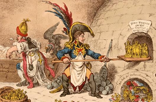 James Gillray, Napoléon, assisté de Talleyrand, remodèle les royaumes européens (Montreuil, musée de l'Histoire vivante)