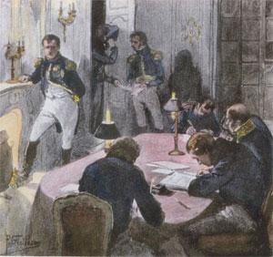Napoléon 1er dicte à ses secrétaires (gravure du XIXe siècle)