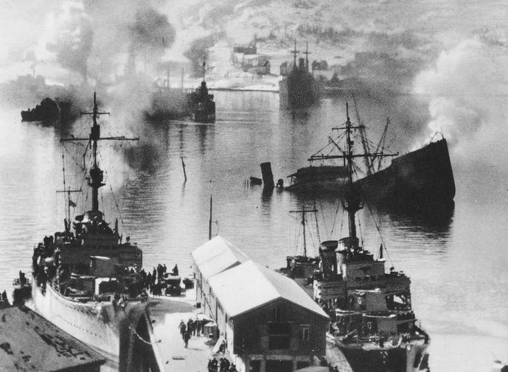 Le port de Narvik après les affrontements d'avril 1940