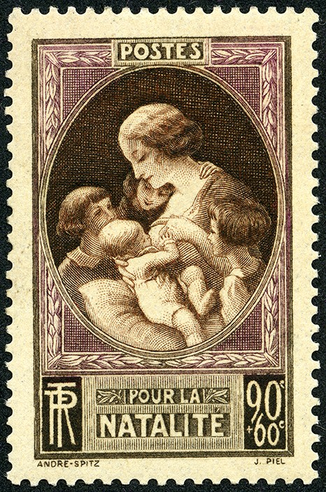 Timbre poste émis en 1939 par le gouvernement issu du Front populaire, en vue d'encourager la natalité
