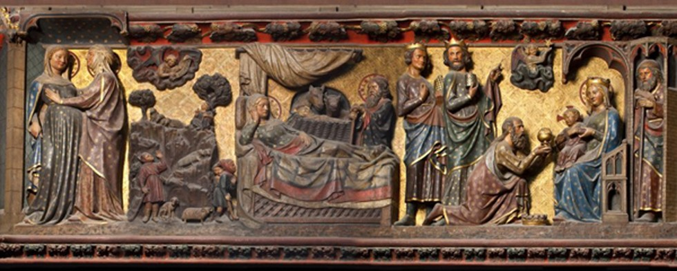 Les premières scènes de la Passion : la Visitation, l'Annonce aux Bergers, la Nativité, Notre-Dame de Paris, chœur, clôture nord, XIIIe siècle, DR.