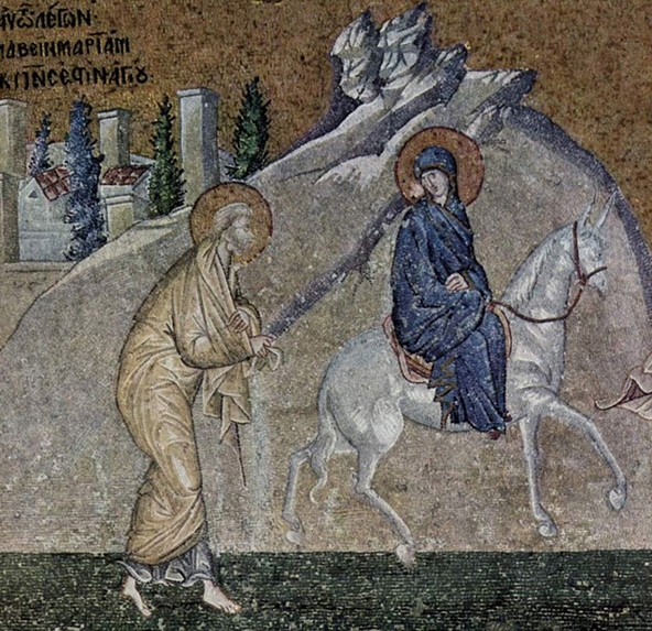 Mosaïques de l'église Saint-Sauveur-in-Chora, vers 1315, Istanbul, Turquie ; scène : Voyage à Bethléem.