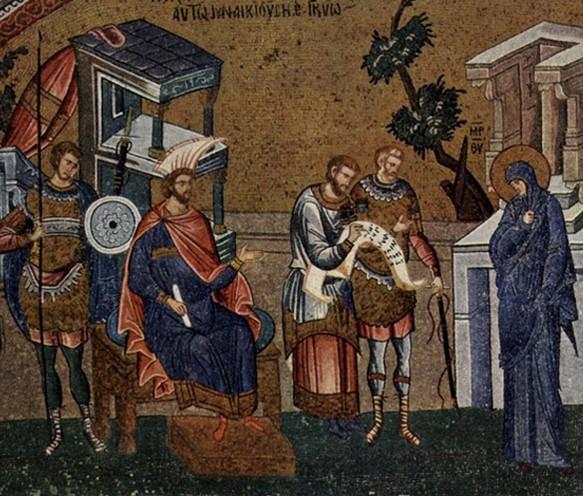 La Vierge et Joseph se font recenser devant le gouverneur Quirinius, mosaïque byzantine, église Saint-Sauveur-in-Chora, vers 1315, Istanbul, Turquie, DR.
