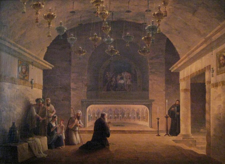 Intérieur de l'Église de la Nativité, Maxim Vorobiev, 1835, musée national de Varsovie, Pologne. L'agrandissement présente l'iconostase de l'Église de la Nativité, Bethléem, 2010, DR.