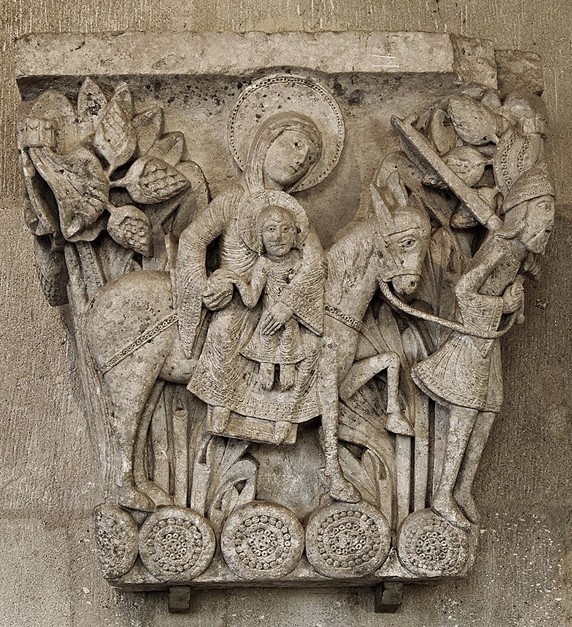 La Fuite en Égypte, cathédrale Saint-Lazare d'Autun, XIIIe siècle, Saône-et-Loire, France.