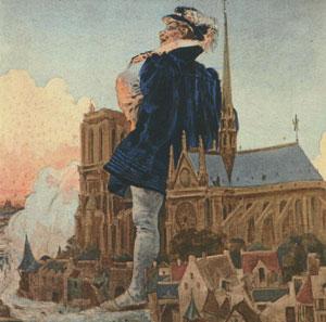 Gargantua décroche les cloches de Notre-Dame et les accroche à son cou (illustrations de Jules Garnier pour Gargantua, de Rabelais, 1897)