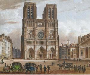 Notre-Dame de Paris à l'issue de la Révolution, vers 1800 (gravure d'époque)