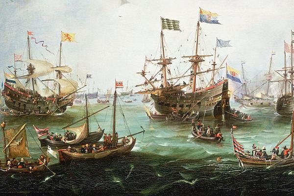 Arrivée triomphale de Jacob van Neck à Amsterdam le 19 juillet 1599 (Andries van Eertvelt, Musée royal de Greenwich)