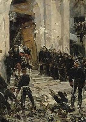 Reddition des francs-tireurs de l'église Saint-Nicolas, au Bourget, le 30 octobre 1870 (1878, Alphonse de Neuville)