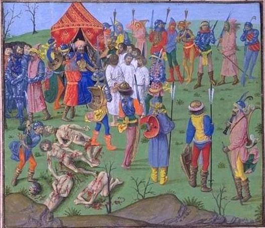 La bataille de Nicopolis, massacre des prisonniers chrétiens (manuscrit de Louis de Gruuthuse, BNF)