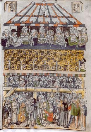 Monstration des regalia à Nuremberg (bois gravé, musée historique de Nuremberg)