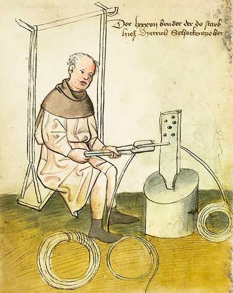 Activité de tréfilage à Nuremberg vers 1425 (musée historique de Nuremberg)