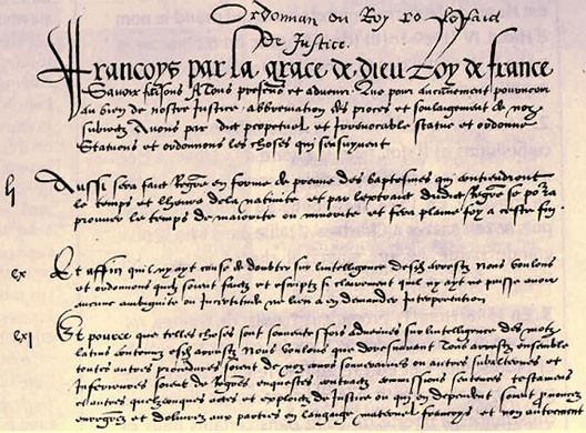 Première page de l'ordonnance de Villers-Cotterets (1539, BNF)